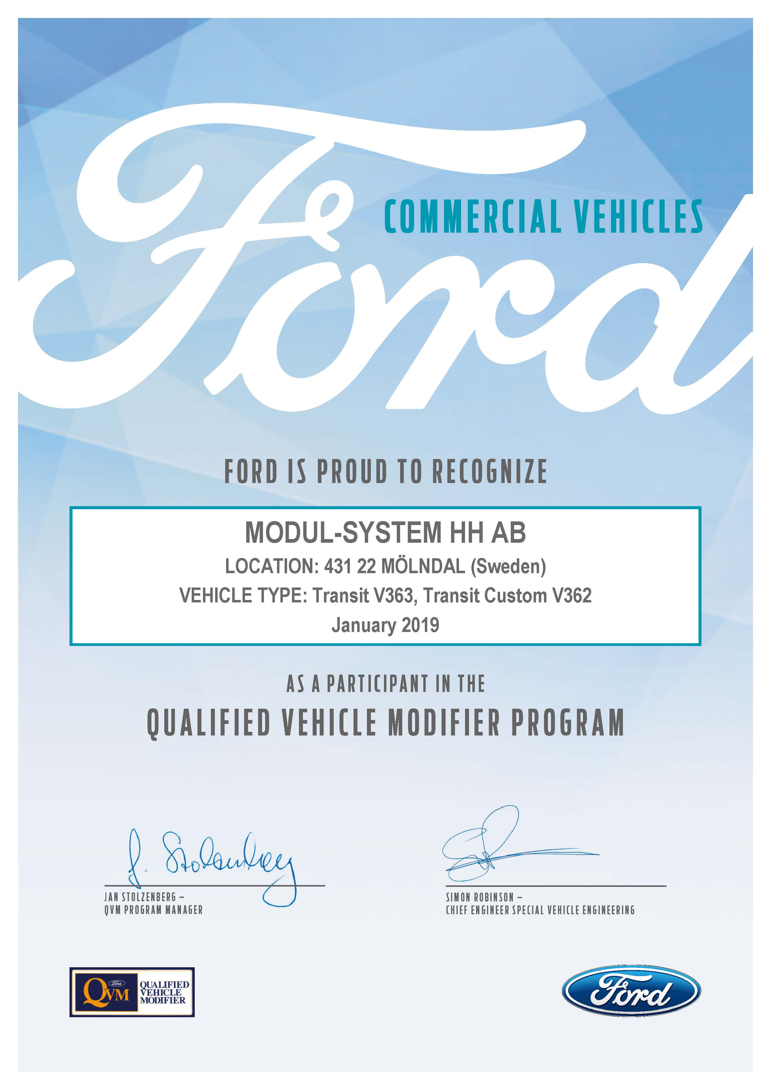 Modul-System certified by Ford